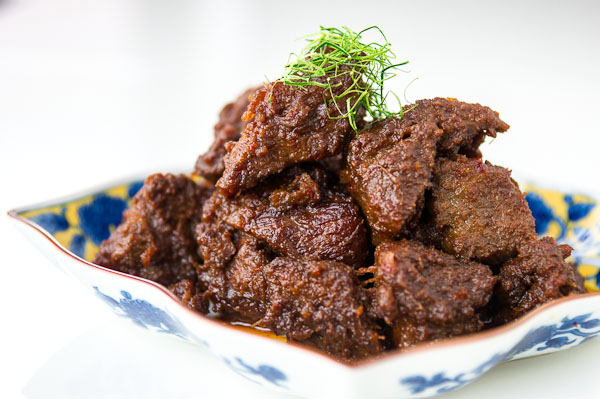 Beef Rendang, is an Indonesian dish made by simmering beef for hours in coconut milk and spices until the liquid has evaporated.
